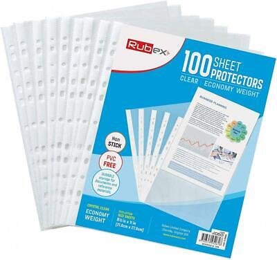 100 Sheet Protectors, Holds 8.5 x 11 inch Sheets, 9.25 x 11.25 Top...