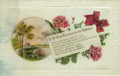 Floral embossed frame greetings postcard - to my dear husband on his birthday