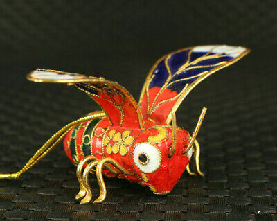 Ancient art old Cloisonne Hand Carved honeybee Statue pendant noble gift