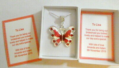 Bridesmaid Flower Girl RED Butterfly Necklace Personalised Gift Box & Card