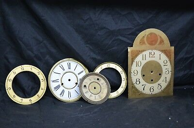 LOT Antique Clock Face Solid Brass Grandfathers Grandmothers Roman Numeral Parts