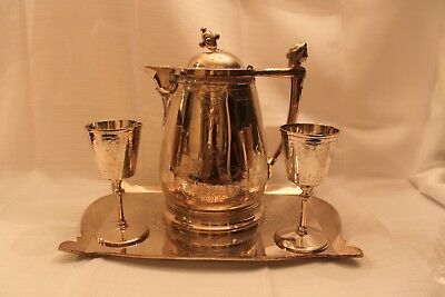 Silver Tray Extra Large Pitcher with 2 Matching Goblets Xmas 1871 Barware