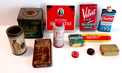 Vintage Box: Lot Of 12 Tins.. Tobacco, Medicine, Dunlop, Star, Rawling, Velvet