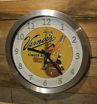 Sundrop Golden Girl Cola Wall Clock Large 12 inch Non Ticking Sweep Hand Glass