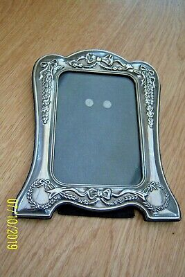 Art Nouveau Silver Plated Photo Frame + Garlands & Bows Stand/Hang Found In Box