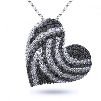 """Sterling Silver Black and White Natural Diamond Heart Pendant 1/5 ct 18"""" Chain"""