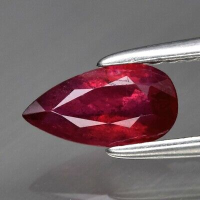 0.67ct 7.7x4mm Pear Natural Unheated Untreated Red Ruby, Tanzania