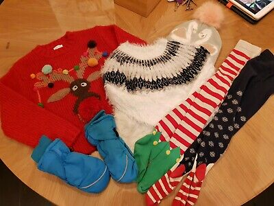 Girls Winter & Christmas Jumper &  tights Bundle Age 5