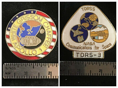 LOT of (2) NASA pins Apollo 1 White Grissom Chaffee & TDRSS space communications
