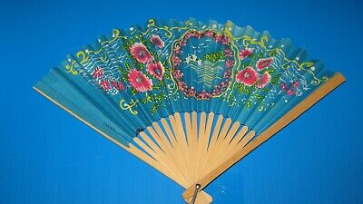 Japanese Vintage Folding Fan Blue Made in Japan BAMBOO / PAPER PRINT