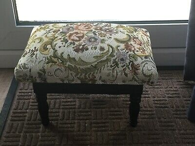Small Dark Wood with Tapestry Hinge Lid Footstool with Storage