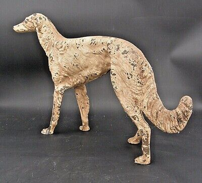 "ANTIQUE cast iron doorstop white Irish Wolfhound 9½""H 15½""L SCARCE dog canine"
