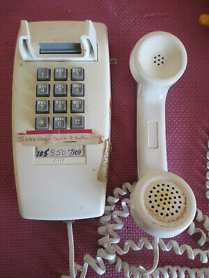 VTG WESTERN ELECTRIC Push Button WALL Telephone WHITE 2554BMPG, 1970'S NOT TESTD
