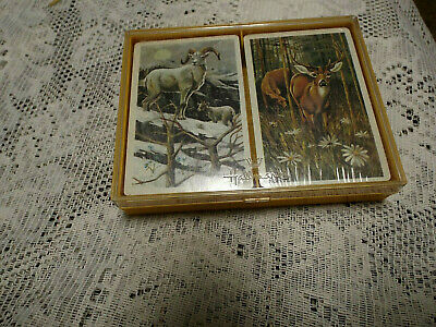 "Vtg Hallmark Bridge Playing Cards ""Nature's Tranquility"",Sealed.deer,Ram.coated"