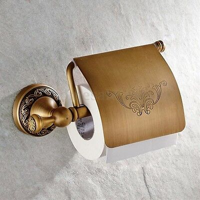 Retro Wall Mounted Antique Brass Toilet Paper Roll Tissue Holder Bathroom