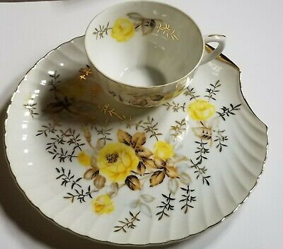 Vintage Porcelain Tea Cup & Saucer Shell Plate Yellow Rose Gold 2 Sets & extra