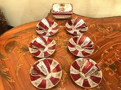 Vintage 6 cups 6 Saucer with Jewelry Box Japanese Porcelain Coffee Set