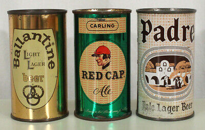 3 Flat Top Beer Cans Ballantine Red Cap Padre Newark Natick Maier Los Angeles Ca