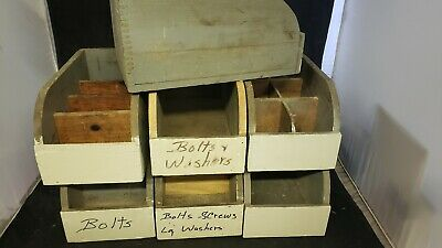 Vtg Antique Primitive Wood barn hardware parts Box Rustic Farm dovetail NH #11