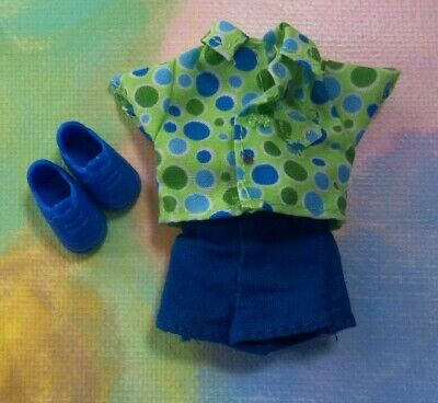 Kelly Tommy Small Doll Clothes *Green Blue Polka Dots Bubbles Short Set /& Shoes*