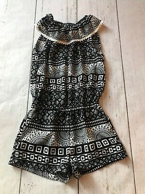 One Step Up Girls Size 10/12 Black White One Piece Romper