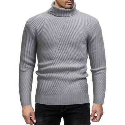 Mens Casual Thermal High Turtle Neck Long Sleeve Sweater Pullover Jumper Knitted