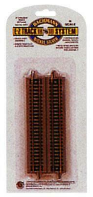 """Bachmann BAC44811 N-Scale 5/"""" Straight E-Z Track  6-Pieces Nickel-Silver Gray-Bed"""