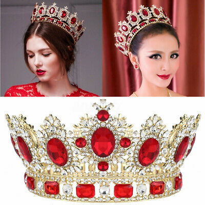 6.7'' Large Ruby Red Crystal Gold King Crown Wedding Prom Party Pageant Bridal