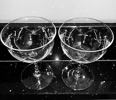 c1850 PAIR VICTORIAN CUT GLASS CRYSTAL CHAMPAGNE COUPE SAUCER GLASSES VINTAGE