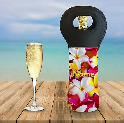 Personalised Frangipani Wine Bottle Cooler Carry Bag