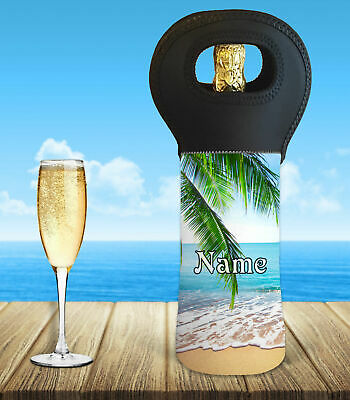 Personalised Beach Wine Bottle Cooler Carry Bag