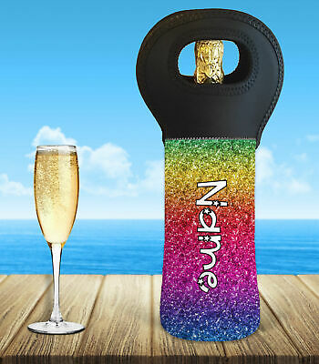 Personalised Rainbow Wine Bottle Cooler Carry Bag