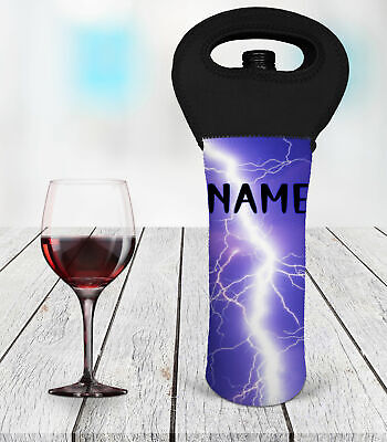 Personalised Lightning Wine Bottle Cooler Carry Bag