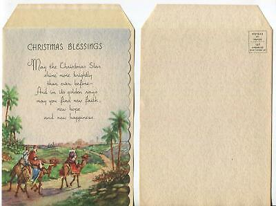 Vintage Christmas Magi Israel Holy Land Camels Wise Men Blessings Greeting Card