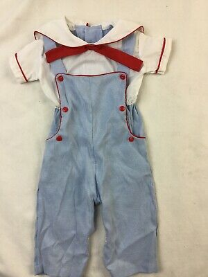 Vintage Baby Boy Blue Overall Jumper Sailor Suit Size 0-6M Red White Blue