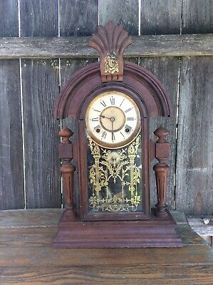 Antique Ansonia Fancy Parlor /Shelf / Mantel Clock Complete, Running Project