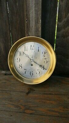 """early Chelsea Boston ships clock 8"""" dial Seattle retailer running project clock"""