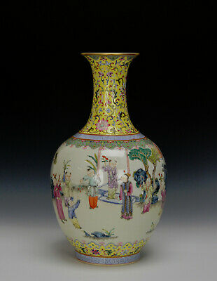 Superb 19th c. Chinese Qing Daoguang Famille Rose Boys Playing Porcelain Vase