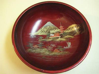 """Vintage Japanese Rare Large Lacquer Handpainted Wooden Bowl, 11"""" Dia, 4"""" High"""