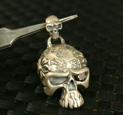 China old 925 silver hand carving skull Netsuke pendant necklace ornament