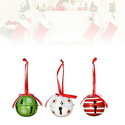 3PCS Christmas Bell Decorative Wrought Iron Painted Bell for Festival Christmas