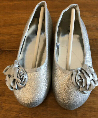 NEW Girls Silver Glittery Flower Shoes Bridesmaid Party Christmas Ex-Tu