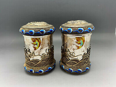 Antique Chinese Export Gilded Silver Enamel Tea Caddy Pair Fish Motive Rare