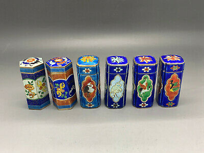 COLLECTION OF ANTIQUE CHINESE EXPORT SILVER ENAMEL TOTHPICK HOLDER 's 6 piece