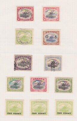 Postage Stamps Papua Sailboats Early Rare Issues On Old Album Page 2