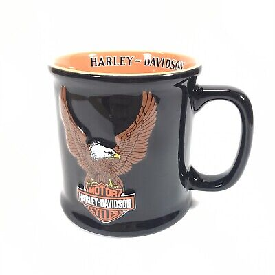 2002 Harley Davidson Mug Large Coffee Cup 3D Embossed Eagle Logo Black Orange
