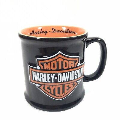 2002 Harley Davidson Mug Large Coffee Cup 3D Embossed Harley Logo Black Orange