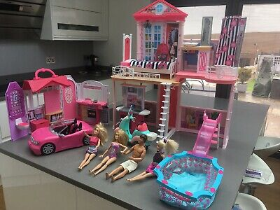 Barbie Dream House,Compact House Barbie's Car and Moped