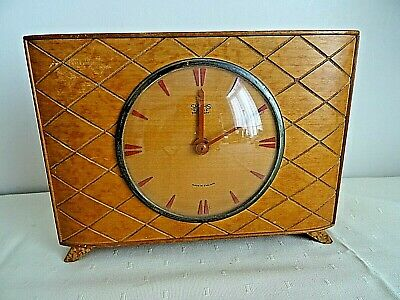 """Vintage Smiths England 8 Day 4 Jewels Wind Up Wooden Case 8.5 X 5.5"""" Mantle Cloc"""