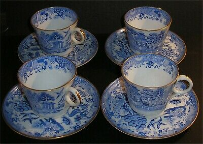 Set of 4 Coffee Cups & Saucer Mid 19th Cent Willow Pattern by Copeland
